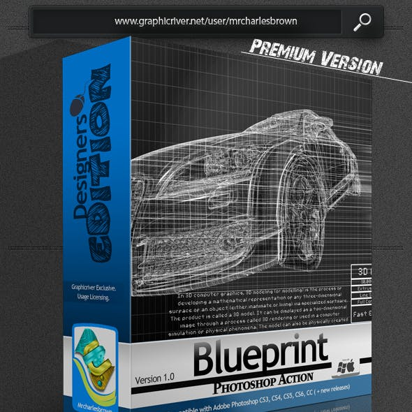 Blueprint Photoshop Action – Designers Edition