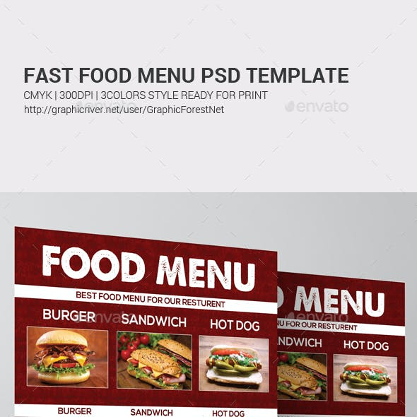 Fast Food Menu Psd Template