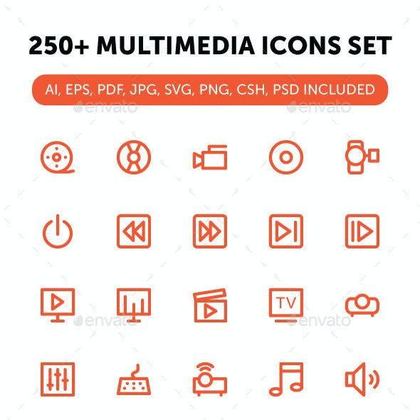 250+ Multimedia Icons Set
