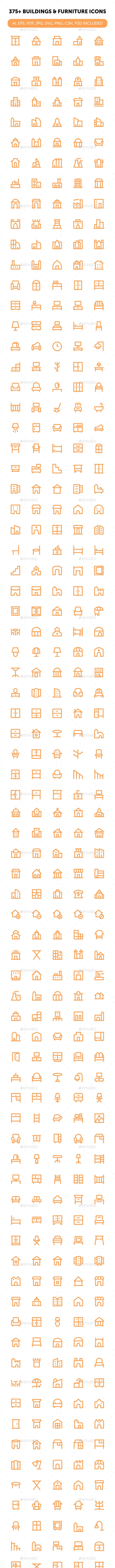 375+ Buildings and Furniture Icons