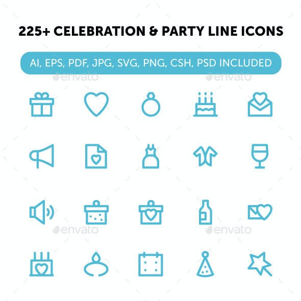 225+ Celebration and Party Line Icons
