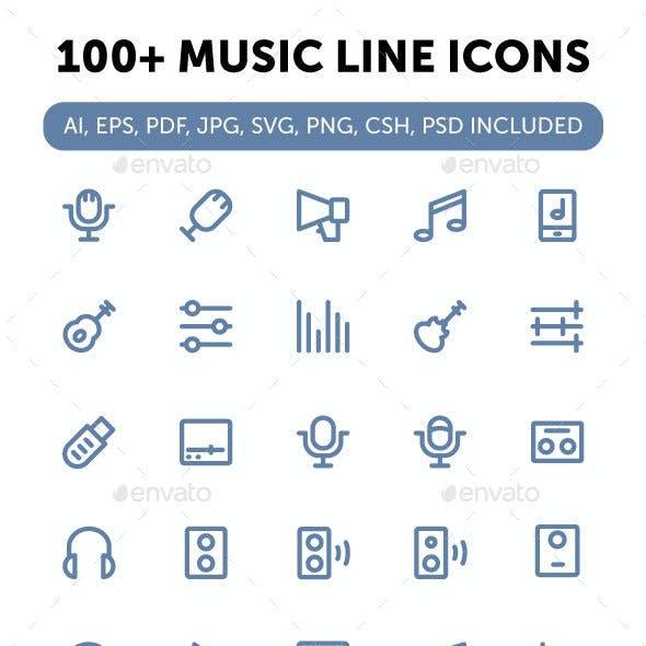 100+ Music Line Icons