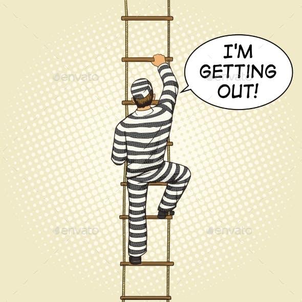 Prisoner Crawling on a Rope Ladder Pop Art