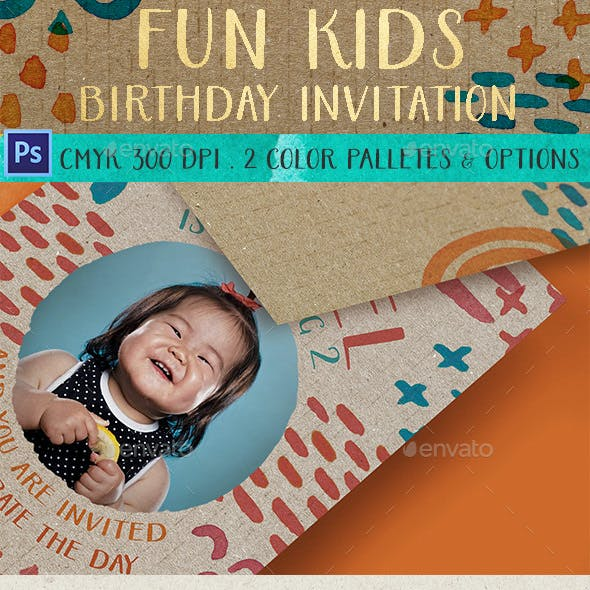 Fun Kids Birthday Invitation
