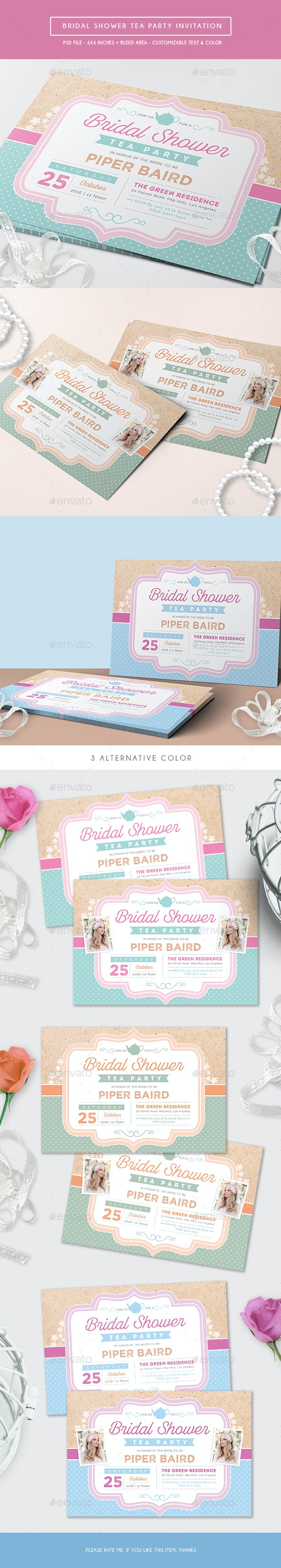 Bridal Shower Tea Party Invitation - Weddings Cards & Invites