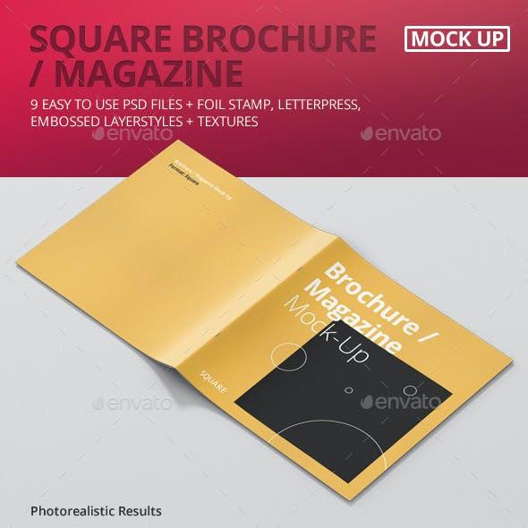 Square Brochure / Magazine Mock-Up