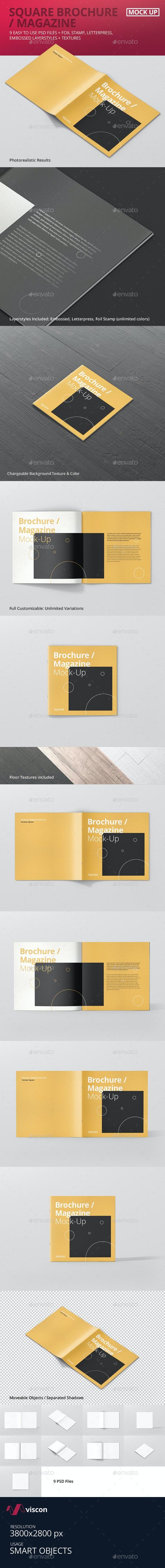 Square Brochure / Magazine Mock-Up - Magazines Print