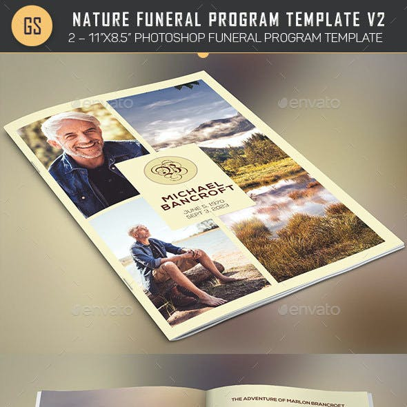 Nature Funeral Program Photoshop Template v2