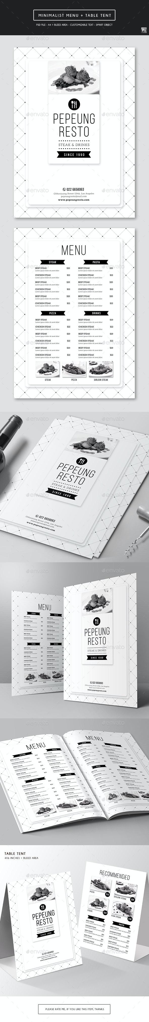 Minimalist Menu + Table Tent - Food Menus Print Templates