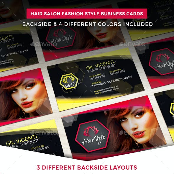 Hair Salon Fashion Style Business Cards