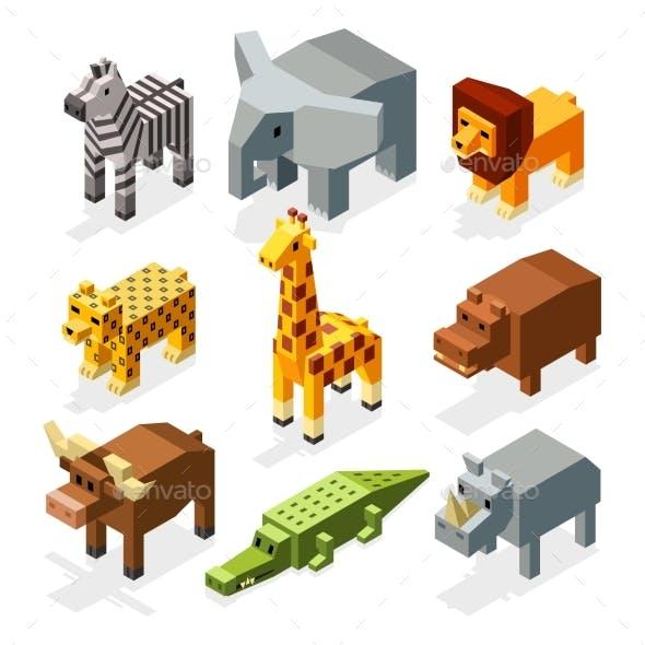 Cartoon 3D Isometric African Animals