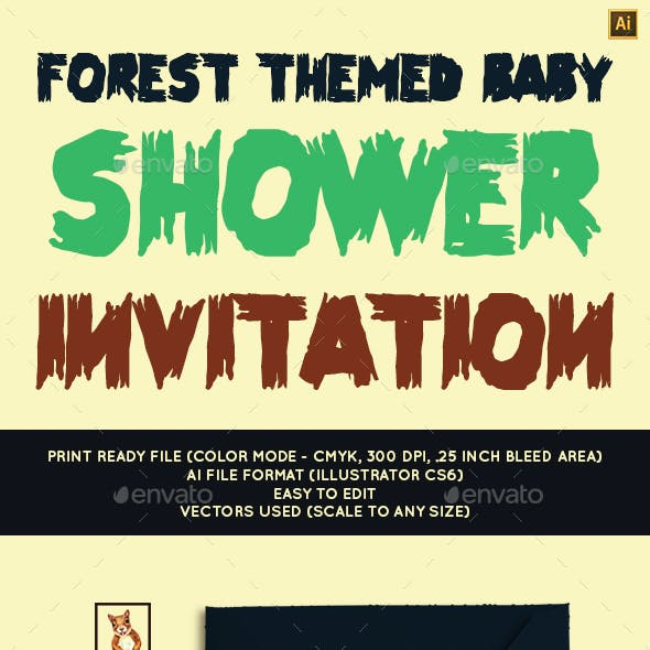 Forest Themed Baby Shower Invitation