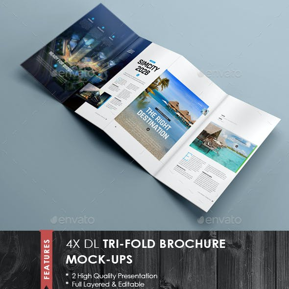4xDL Double Gate Fold Brochure Mock-up 5