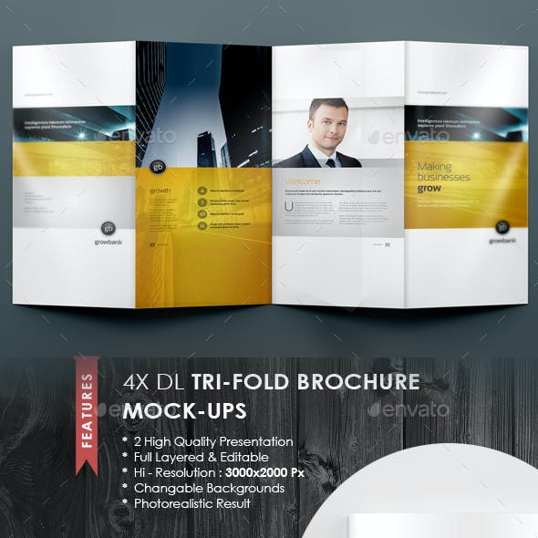4xDL Double Gate Fold Brochure Mock-up 6