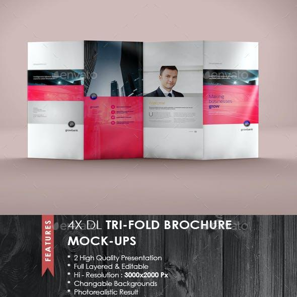 4xDL Double Gate Fold Brochure Mock-up 7