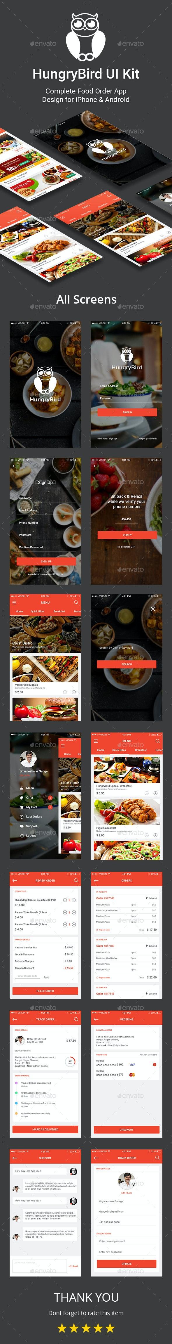 HungryBird - Food Order App UI Kit - User Interfaces Web Elements