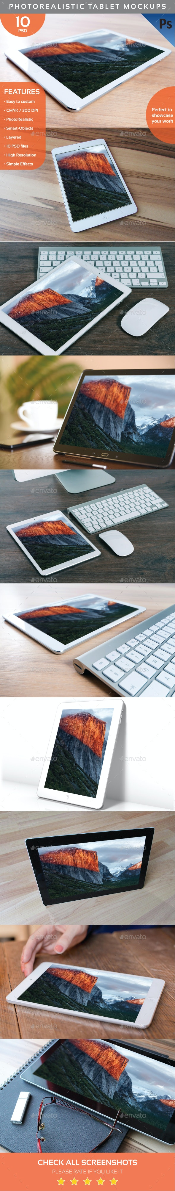 Photorealistic Tablet Mockups  - Displays Product Mock-Ups