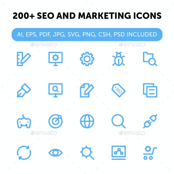 200+ SEO and Marketing Icons