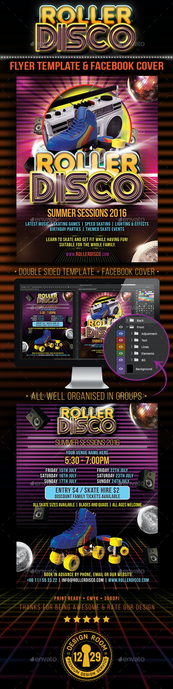 Roller Disco Flyer Template - Events Flyers