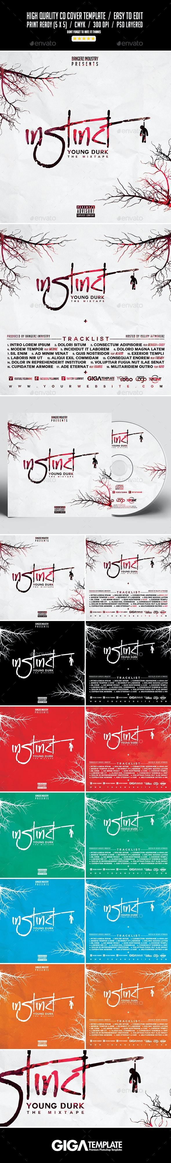 Instinct   Urban Music Album Mixtape CD Cover Template - CD & DVD Artwork Print Templates