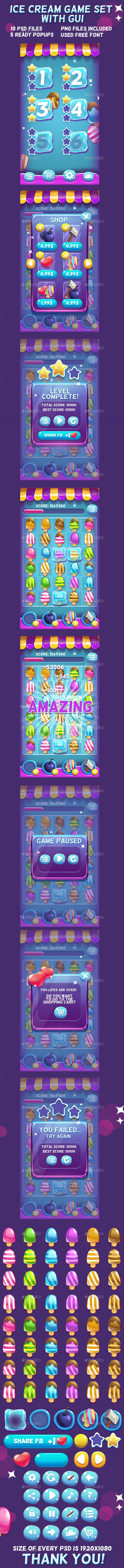 Ice Cream Game Set with UI - Game Kits Game Assets