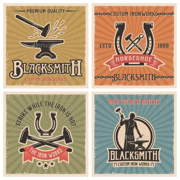 Blacksmith Retro Icon Set