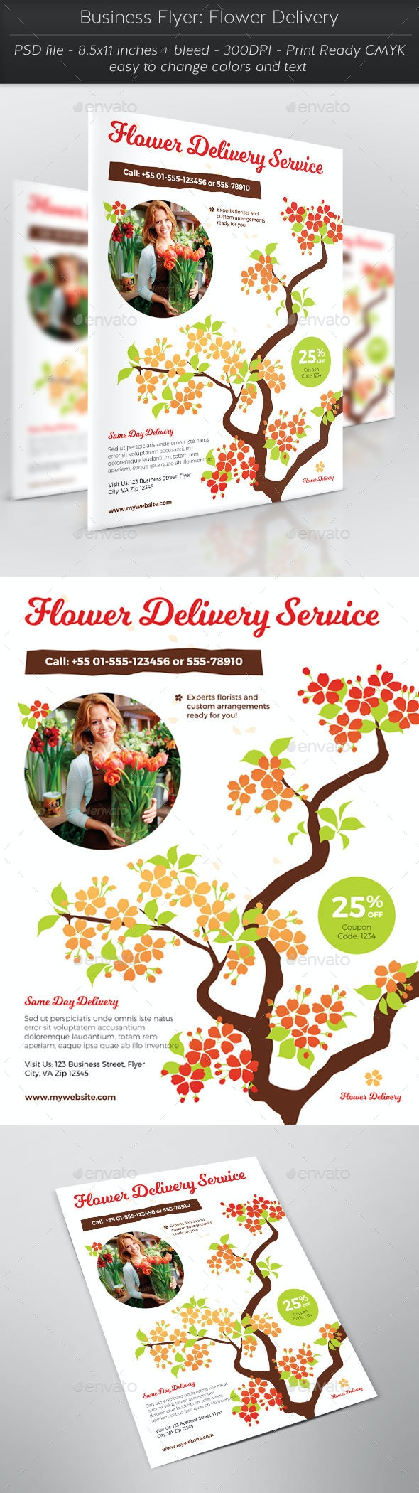 Business Flyer: Flower Delivery - Flyers Print Templates