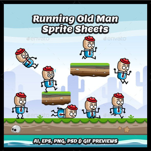 Running and Jumping Old Man Game Character