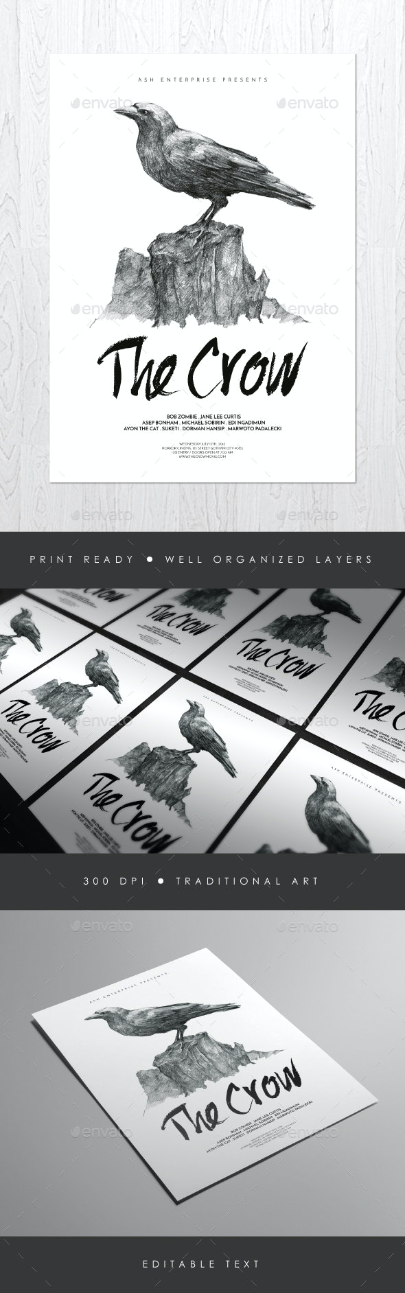 The Crow Illustrated Flyer Poster - Events Flyers