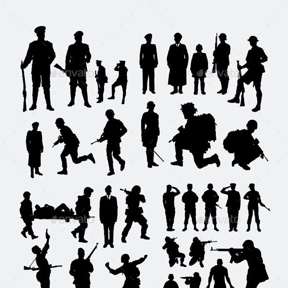 100 Soldier & Police Silhouettes
