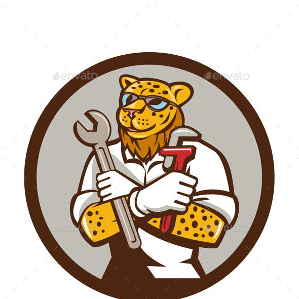 Leopard Mechanic Spanner Monkey Wrench Circle Cartoon