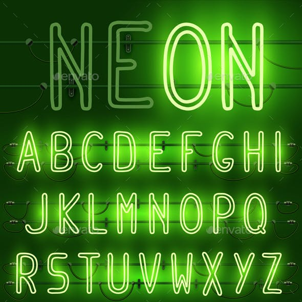 Neon Alphabet Letters in Three Colors