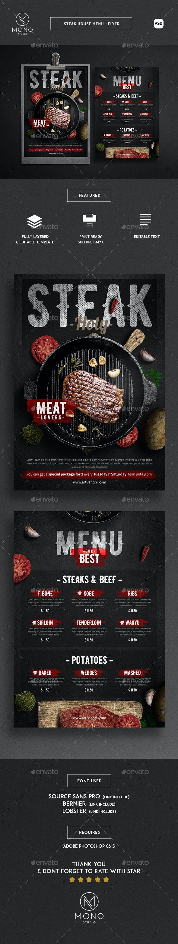 Steak House Menu - Flyer - Food Menus Print Templates