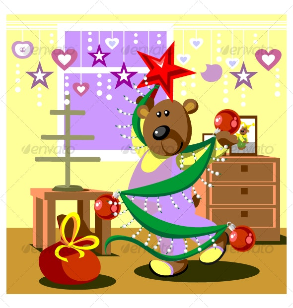 Bear dresses fir tree 21 - Christmas Seasons/Holidays