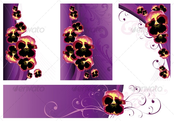 Backgrounds with violets - Flourishes / Swirls Decorative
