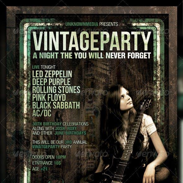 Vintage / Retro Night Club Party / Concert Flyer