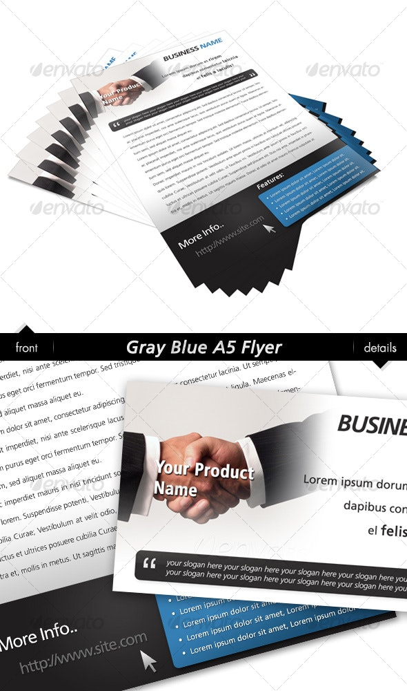 Gray Blue A5 Flyer - Corporate Flyers