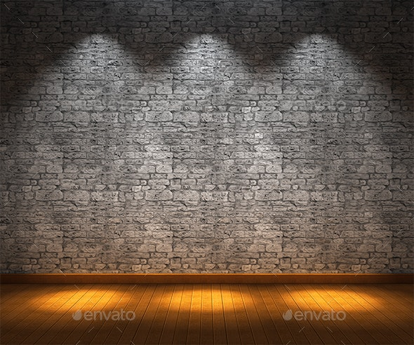 Interior Room with Stone Wall and Wooden Floor - Objects 3D Renders