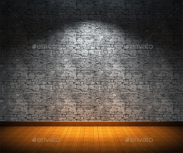 Interior Room with Stone Wall and Wooden Floor - 3D Backgrounds