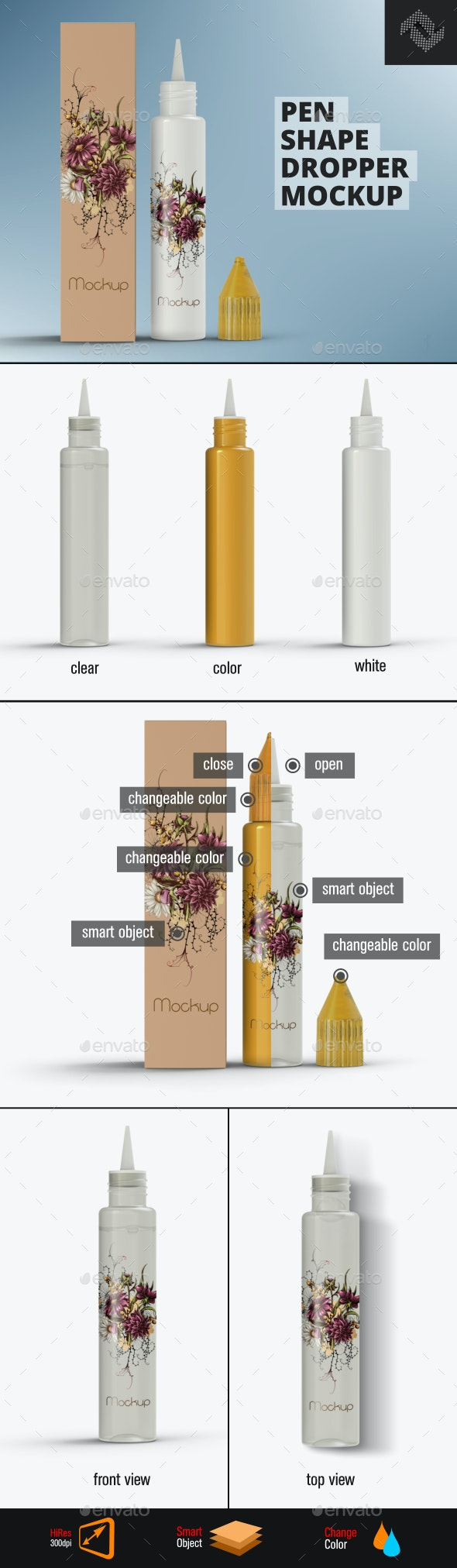 Pen Shape Dropper Mockup - Packaging Product Mock-Ups