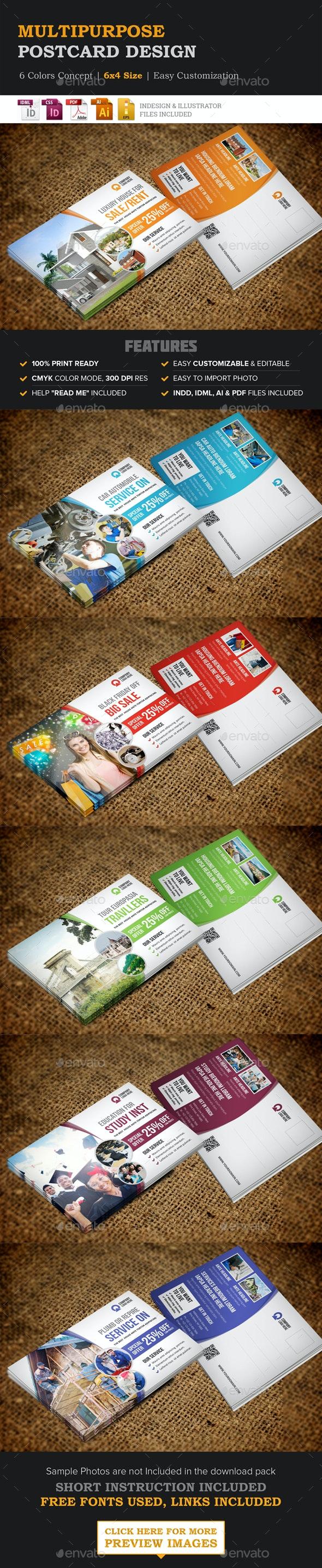 Multipurpose Postcard Design - Cards & Invites Print Templates