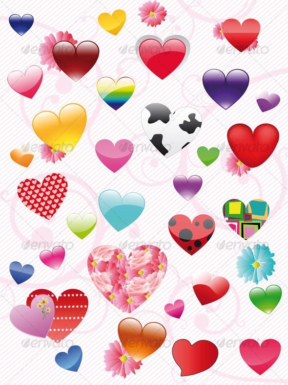 The complete set of hearts - Decorative Symbols Decorative
