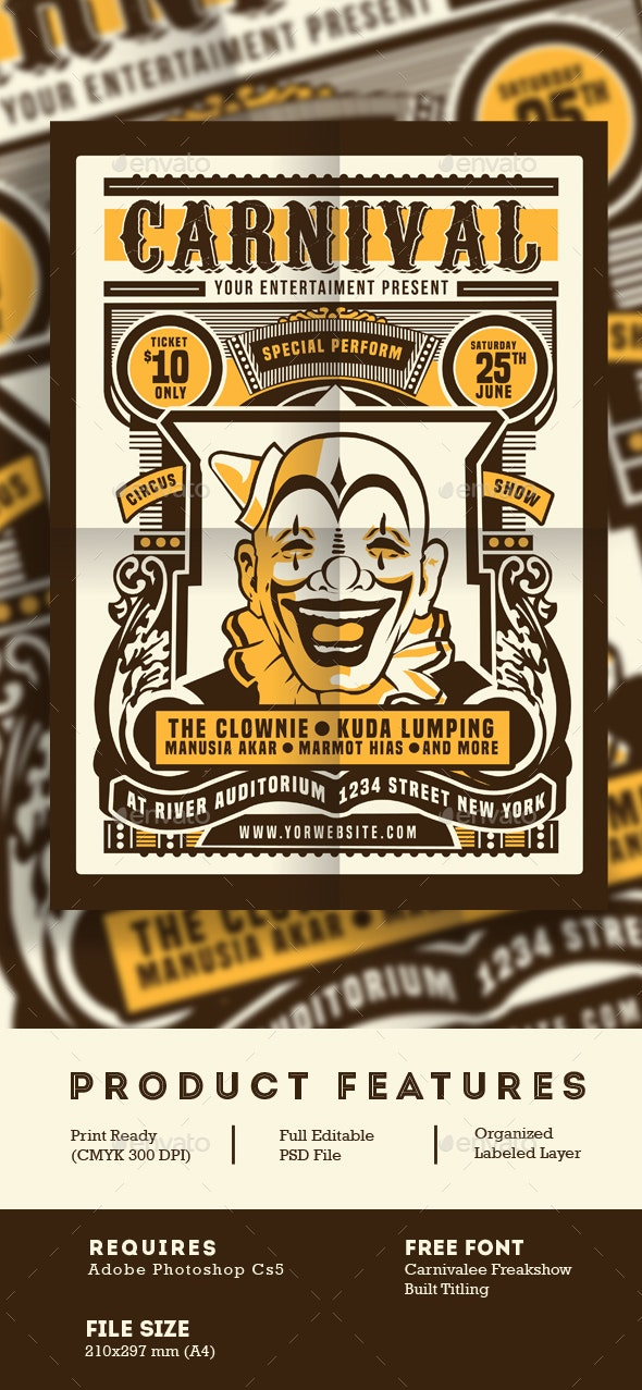 Vintage Circus Carnival Flyer Poster - Events Flyers