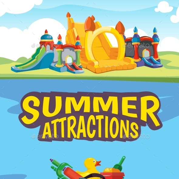 Illustration of Inflatable Castles and Aquapark