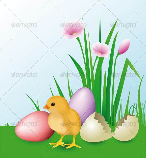 Newly Hatched Chick & easter eggs - Seasons/Holidays Conceptual