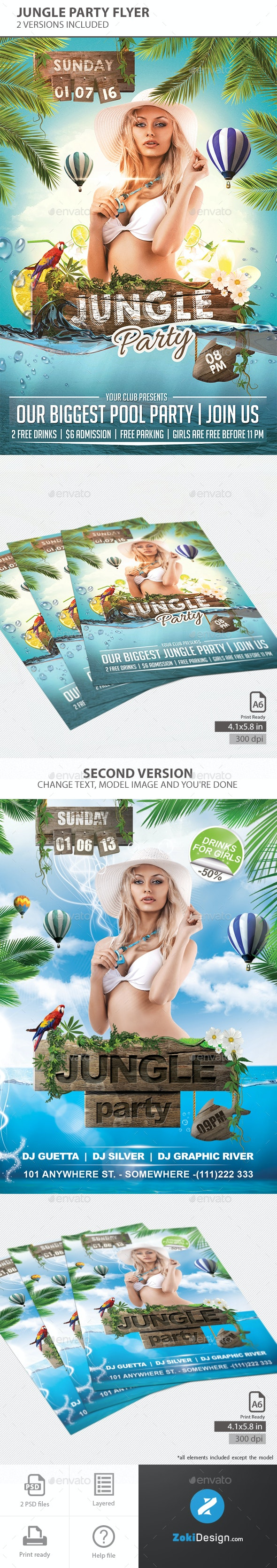 Jungle Party - Events Flyers