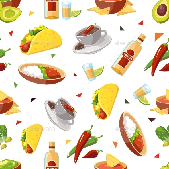Seamless Pattern with Traditional Mexican - Food Objects