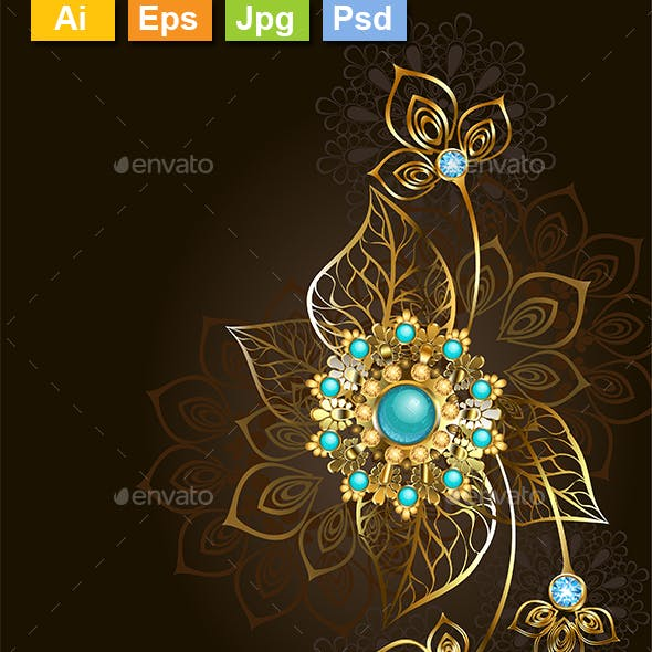 Jewelry with Turquoise on a Dark Background