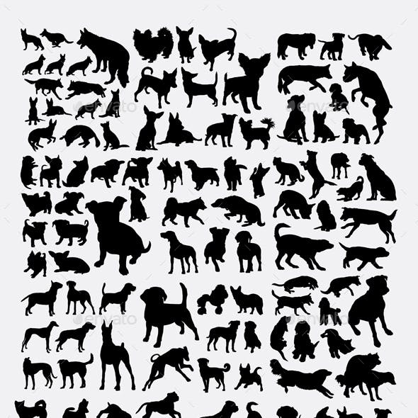 150+ Dogs Collection Silhouette