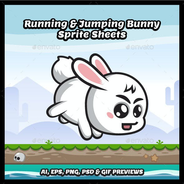 Running and Jumping Bunny Game Character